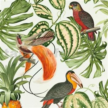 Vliesové tapety na stenu Natural Living ananasy, papagáje, listy na bielom podklade
