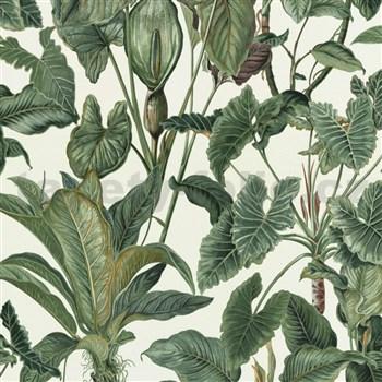 Vliesové tapety na stenu Natural Living zelené kaly s listami
