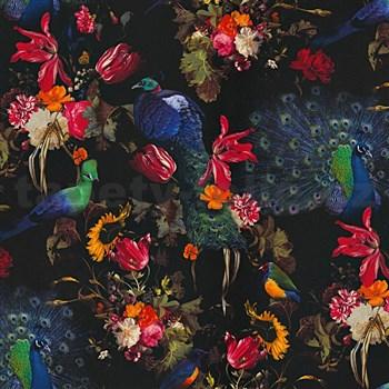 Vliesové tapety na stenu Instawalls vtáky s farebnými kvetmi na čiernom podklade