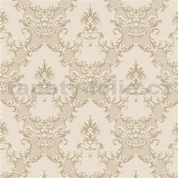 Vliesové tapety na stenu Modern Classics zámocký vzor hnedý s krémovými kontúrami