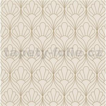 Vliesové tapety na stenu Graphics & Basics kontúry kvetin zlaté na krémovom podklade