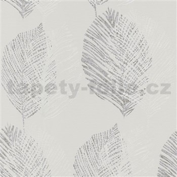 Vliesové tapety na stenu Scandinja listy sivé na svetlo sivom podklade