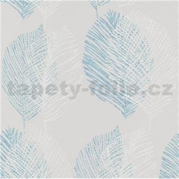 Vliesové tapety na stenu Scandinja listy modré na sivom podklade