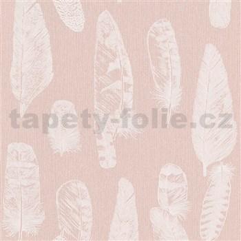 Vliesové tapety na stenu Scandinja perie biele na ružovom podklade