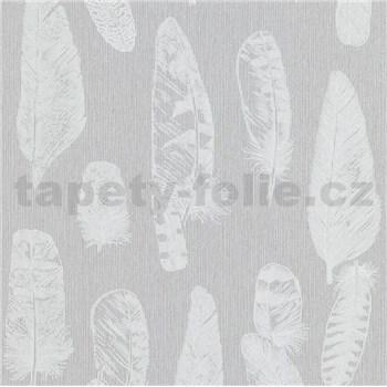 Vliesové tapety na stenu Scandinja perie svetlo sivé na sivom podklade