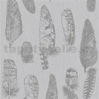 Vliesové tapety na stenu Scandinja perie sivé na sivom podklade