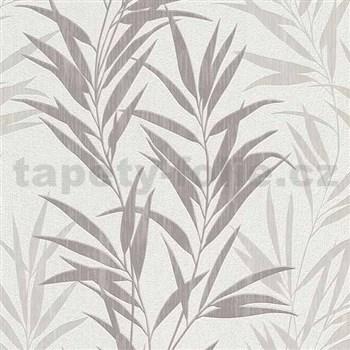 Vliesové tapety na stenu Mix Up bambusové listy sivé a biele