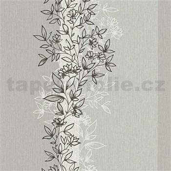 Vliesové tapety na stenu Natural Living florálny vzor čierno-biely s trblietkami