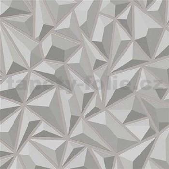 Vliesové tapety na stenu Mix Up 3D jehlany sivé