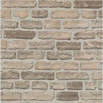 Vliesové tapety na stenu Imitations tehlová stena béžovo-sivá - POSLEDNÝ KUS