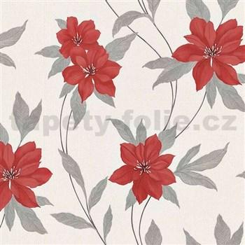 Vinylové tapety na stenu Spring kvety červené s šedými stonky a lístkami