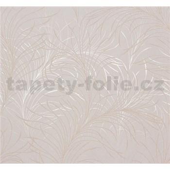 Vliesové tapety Estelle listy zlaté na krémovom podklade