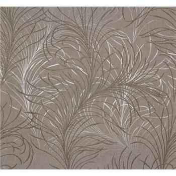 Vliesové tapety Estelle listy zlato-strieborné na hnedom podklade