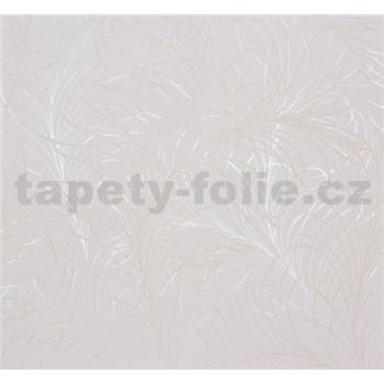 Vliesové tapety Estelle listy zlato-strieborné na bielom podklade