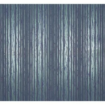 Vliesové tapety Estelle pruhy metalické zeleno-modré