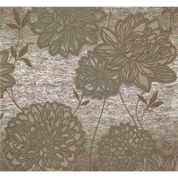 Vliesové tapety Estelle kvety olivovo zelené