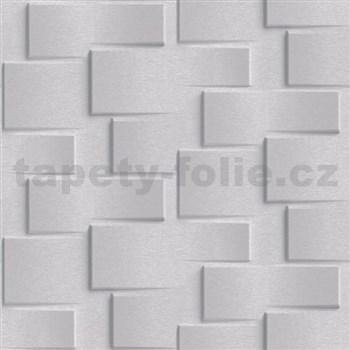Vliesové tapety na stenu Exposure 3D metalický obklad svetlo sivý