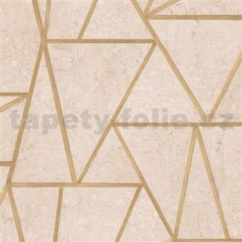 Vliesové tapety na stenu Exposure vápencové obklady hnedé so zlatými švami