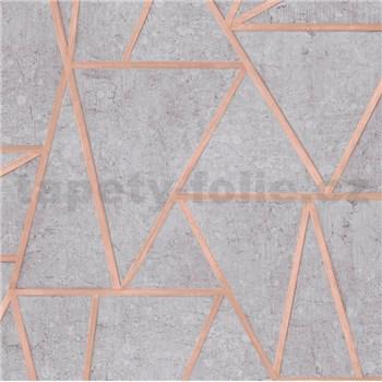 Vliesové tapety na stenu Exposure vápencové obklady sivé s medenými švami