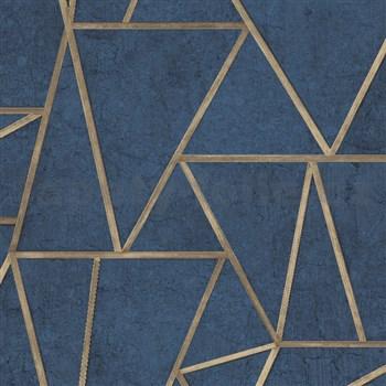 Vliesové tapety na stenu IMPOL Exposure SOHO modré so zlatými švami