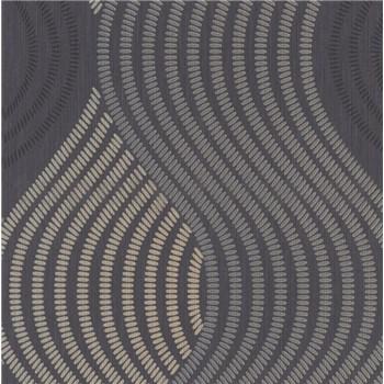Vliesové tapety na stenu G.M.K. Fashion for walls vlnovky zlato-sivé na čiernom podklade