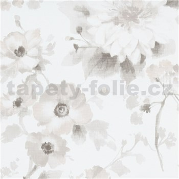 Vliesové tapety na stenu G.M.K. Fashion for walls kvety svetlo hnedé na bielom podklade