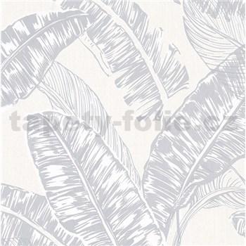 Vliesové tapety na stenu Felicita listy sivé na krémovom podklade