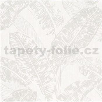 Vliesové tapety na stenu Felicita listy svetlo hnedé na svetlo sivom podklade