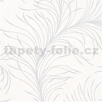 Vliesové tapety na stenu Felicita jemné listy bielo-sivé na krémovom podklade