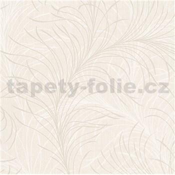 Vliesové tapety na stenu Felicita jemné listy bielo-krémové na krémovom podklade