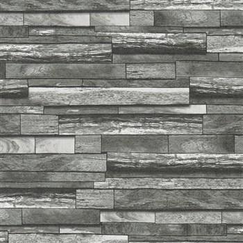 Vliesové tapety na stenu Felicita kamene skladané sivo-čierne