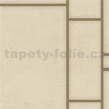 Vliesové tapety na stenu Felicita obdĺžnik béžový so zlatým ohraničením
