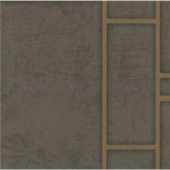 Vliesové tapety na stenu Felicita obdĺžnik tmavo hnedý so zlatým ohraničením