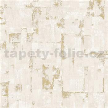 Vliesové tapety na stenu IMPOL Finesse stierkovaná omietkovina hnedá so zlatými odleskami