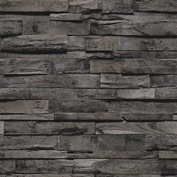 Vliesové tapety na stenu IMPOL Finesse 3D drevo čiernohnedé