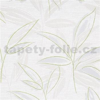 Vliesové tapety na stenu IMPOL Finesse abstraktné listy sivo-zelené