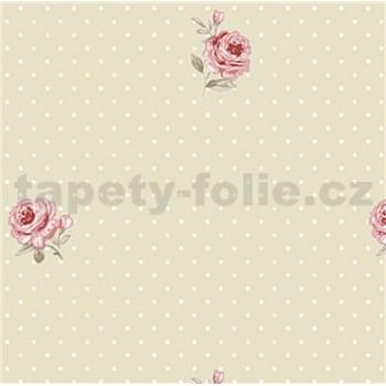 Vliesové tapety na stenu LITTLE FLORALS ruže na hnedom podklade s bodkami