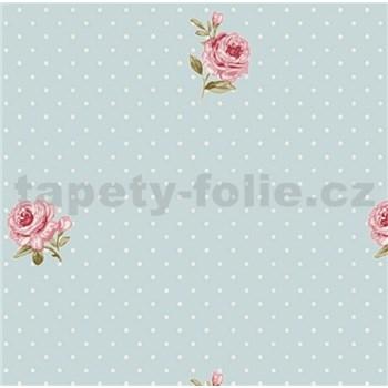 Vliesové tapety na stenu LITTLE FLORALS ruže na modrom podklade s bodkami