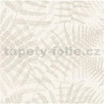 Luxusná vliesová tapeta na stenu NATURAL FOREST listy papradia krémové s trblietkami