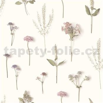 Moderná vliesová tapeta na stenu NATURAL FOREST bylinky ružovo-fialové