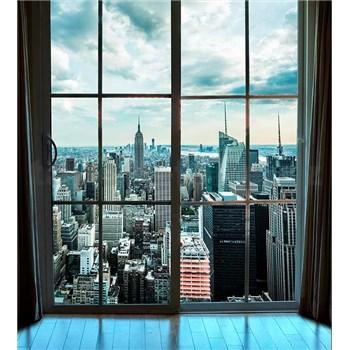 Vliesové fototapety výhľad z okna na Manhattan rozmer 225 cm x 250 cm
