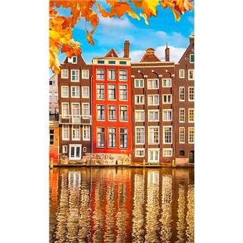 Vliesové fototapety domy v Amsterodamu rozmer 150 cm x 250 cm