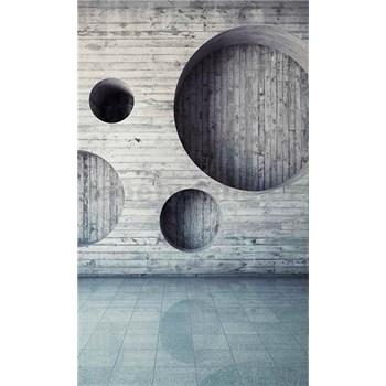 Vliesové fototapety drevená stena s kruhmi  rozmer 150 cm x 250 cm