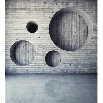 Vliesové fototapety drevená stena s kruhmi  rozmer 225 cm x 250 cm