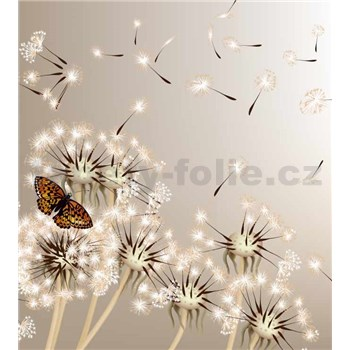 Vliesové fototapety púpavy a motýle rozmer 225 cm x 250 cm