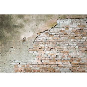 Vliesové fototapety tehlová stena s omietkou rozmer 375 cm x 250 cm