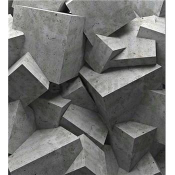 Vliesové fototapety 3D betónové kocky rozmer 225 cm x 250 cm