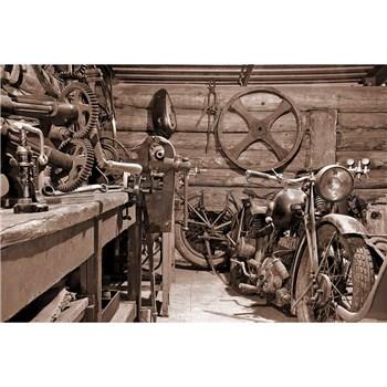 Vliesové fototapety vintage garáž rozmer 375 cm x 250 cm