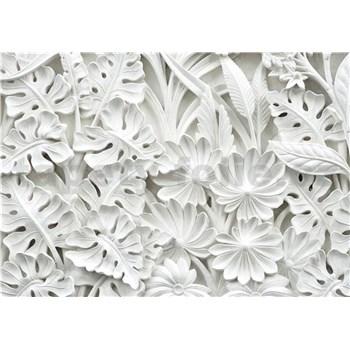 Vliesové fototapety 3D kvety biele rozmer 416 cm x 254 cm