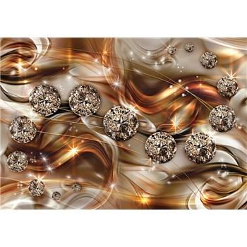 Vliesové fototapety 3D brilianty zlaté rozmer 368 cm x 254 cm